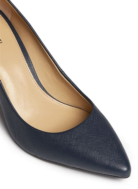 Matilda Navy Leather Stacked Heels michael kors flex saffiano leather pumps in blue lyst