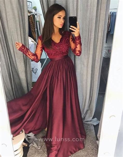 Line Slit burgundy wine lace and satin sheer sleeve a line slit