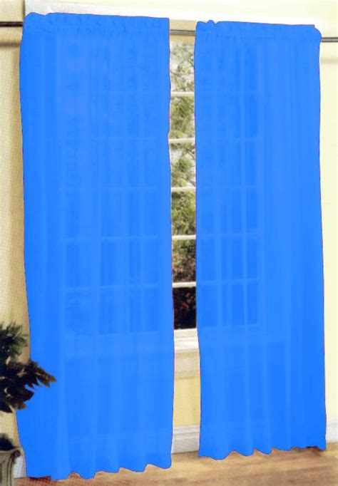 bright blue curtains new 2 pcs sexy sheer voile window curtain panel set bright