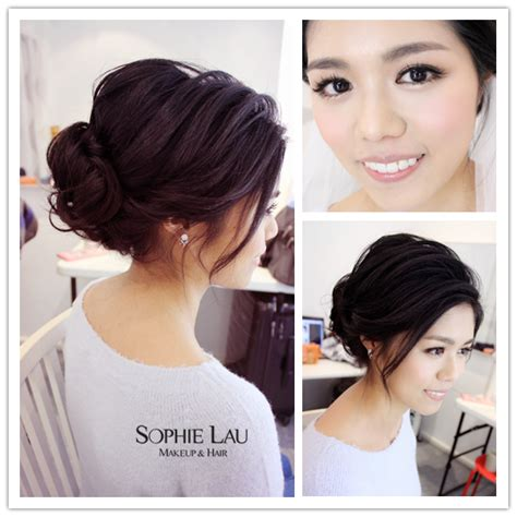asian bridesmaid hairstyles with color sophie lau makeup and hair wedding photos