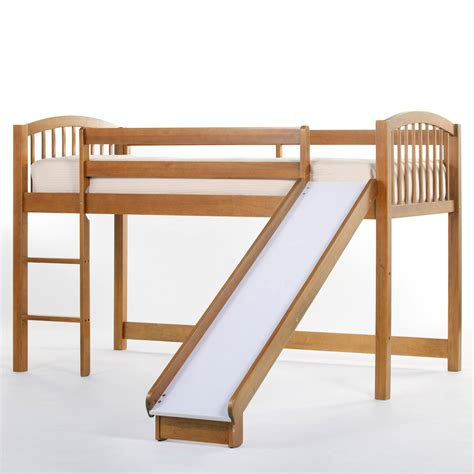 beds with slides ne schoolhouse junior loft bed with slide pecan
