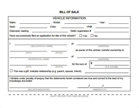 free ohio motor vehicle bill of sale form pdf word eforms