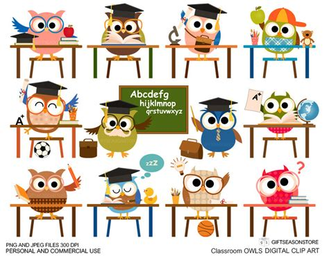 classroom clipart classroom owl clip for personal and by giftseasonstore