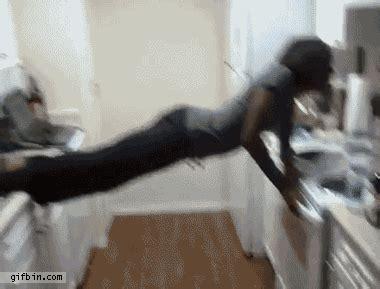 kitchen gif kitchen acrobatics fail screen best gifs