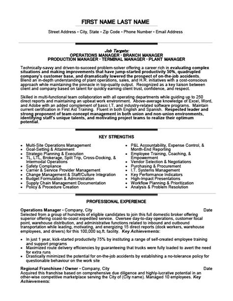 Terminal Manager Sle Resume by Operations Manager Resume Template Premium Resume Sles Exle