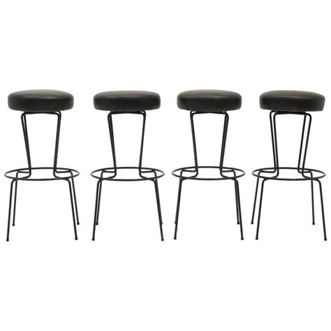 Black Stools Iron by Four Frederic Weinberg Bar Stools Black Wrought Iron And
