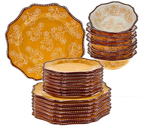 Red Accents For Kitchen - temp tations floral lace 24 piece dinnerware service for 8 page 1 qvc com