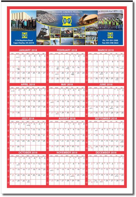 giant custom year  glance calendar  week numbers calendar company