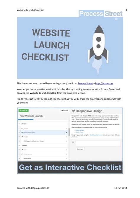 Website Launch Checklist Website Launch Template