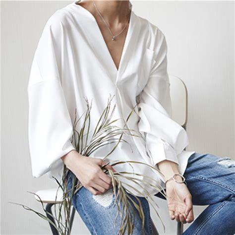 Blouse Korean V summer shirt collar blouse korean style