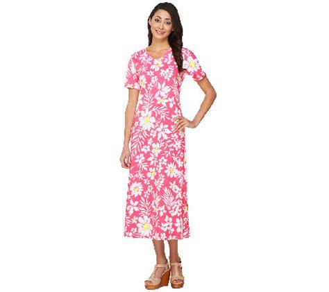 denim co sleeve v neck floral print knit dress page 1 qvc