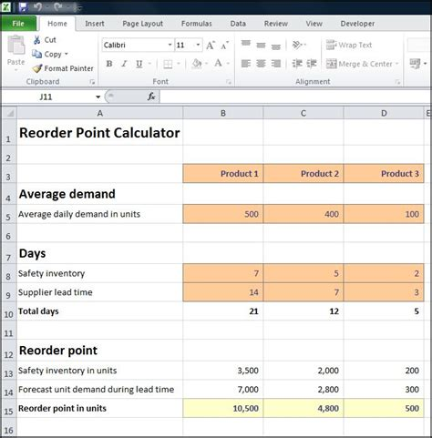Reorder Point Calculator Double Entry Bookkeeping Inventory Reorder Point Excel Template