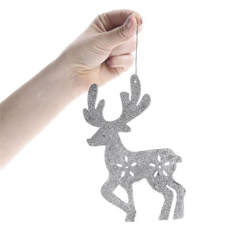 silver glittered reindeer ornaments christmas and winter