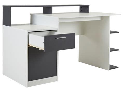 bureau gris et blanc bureau zacharie 1 tiroir 1 porte blanc gris