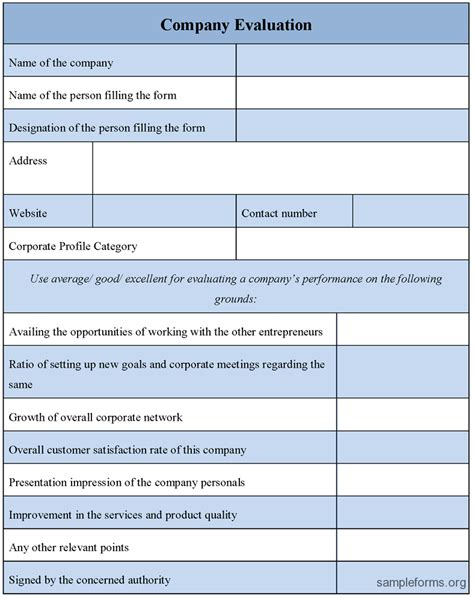 Company Evaluation Letter Form November 2015