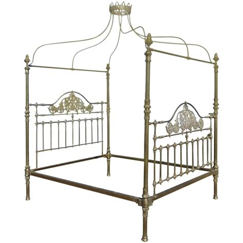 brass canopy bed all brass crown and canopy four poster bed at 1stdibs