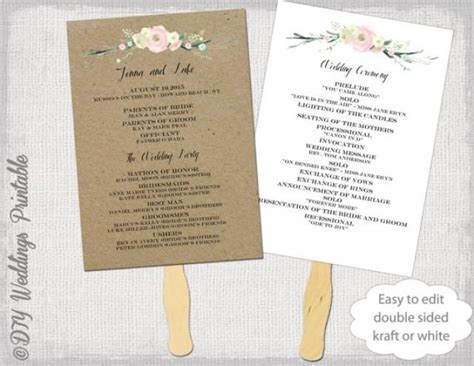 wedding programs fans templates wedding program fan template quot rustic flowers quot diy kraft or