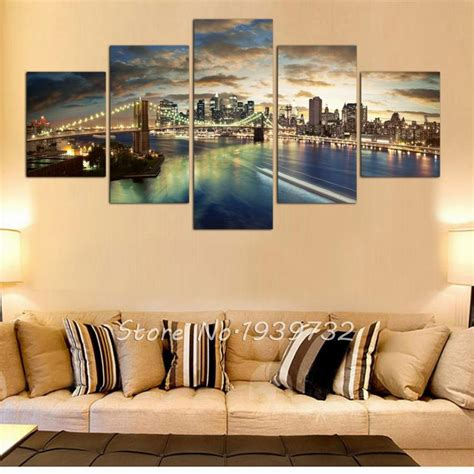 home decor new york city 5 panel new york city landscape canvas home decor wall art