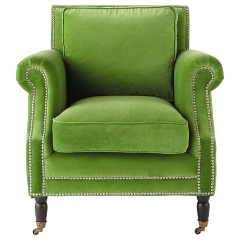 green armchairs velvet armchair in green baudelaire maisons du monde