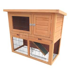 pig hutch 3ft outdoor rabbit hutch and run with 2 two tier wooden