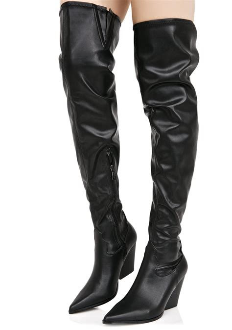 vegan leather thigh high cowboy boots dolls kill