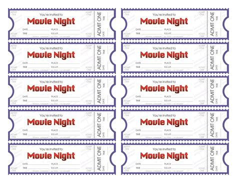 printable pretend tickets make your own movie night tickets