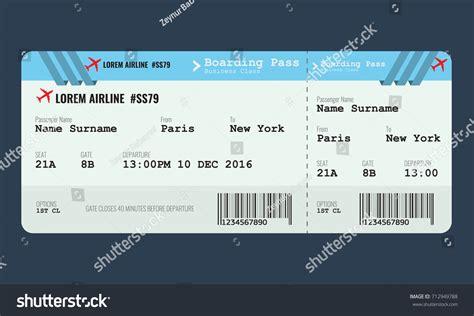 vector airplane ticket design template mock stock vector