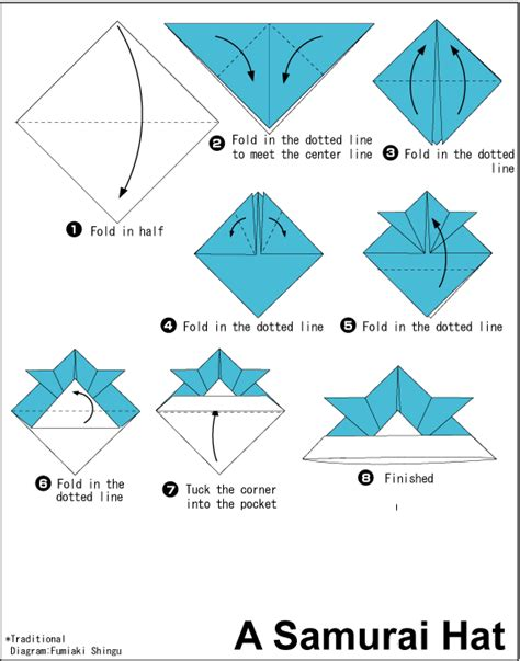 How To Make A Paper Baseball Cap - origami a samurai hat web wanderers