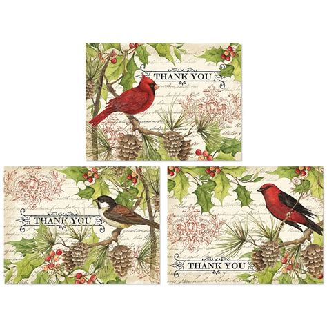 Buy Gift Card Get One Free - holly birds thank you note cards colorful images