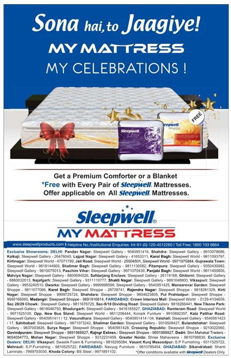 Sleepwell Mattress Delhi by Sleepwell Free Premium Comforter With Every Pair Of
