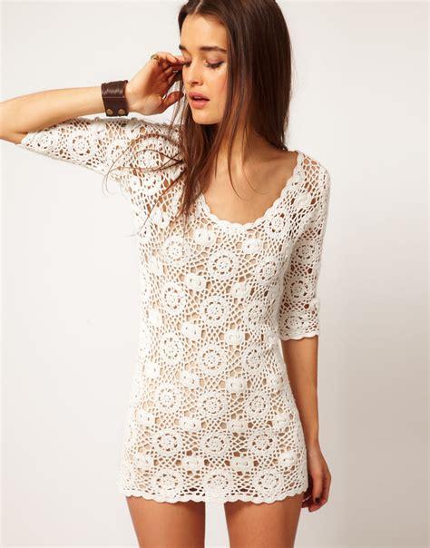 Crochet Pink Dress lyst minkpink minkpink white lie crochet dress in