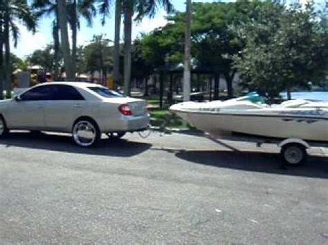 civic towing boat camry on 22 s pulling jet boat up the r youtube