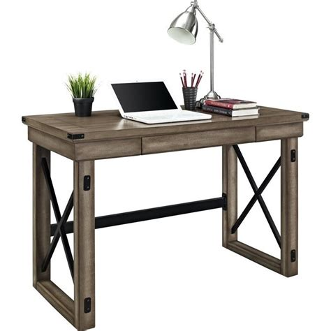 Office Metal Desk Altra Furniture Wildwood Rustic W Metal Frame Home Office Desk Ebay
