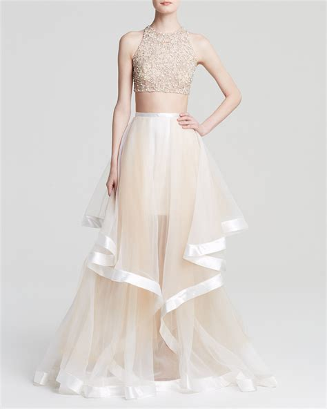 Diy Wedding Vases Terani Couture Gown Beaded Crop Top Amp Tiered Sheer Tulle