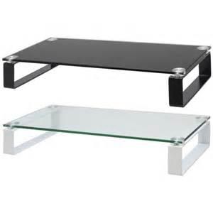 Hartleys glass tv monitor riser shelf with block legs choice of size
