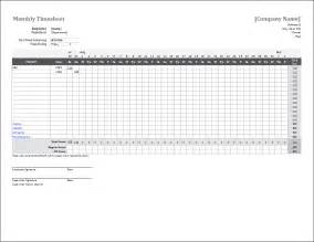 Excel Sheet Template by Monthly Timesheet Template For Excel