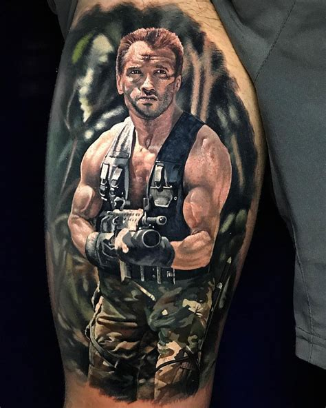 schwarzenegger predator piece on guy s thigh best tattoo