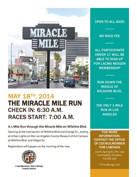 Miracle Run For Free Councilman Labonge Hosts Miracle Mile Run On Sunday Larchmont Buzz Hancock Park News