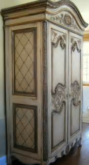 Ivory Bookcase Hand Painted French Country Armoire Traditional