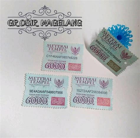 Materai Tempel Resmi Rp6 000 6 Pcs jual materai daftar harga terlengkap indonesia