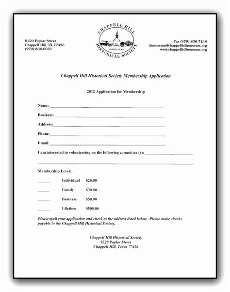 Church New Member Form Template