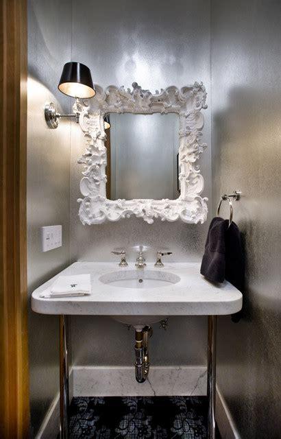 mirror design ideas visual sparkle bathroom mirror light advises using single shaped pendant glamorous powder room contemporary powder room san