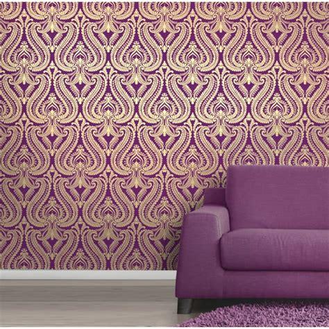 purple gold wallpaper uk shimmer damask metallic wallpaper purple gold ilw980013