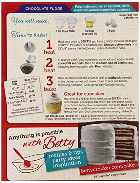 cake directions betty crocker chocolate cake mix directions