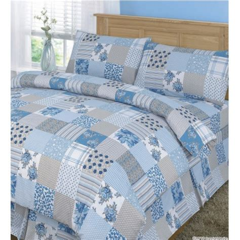 Quilt Pattern Duvet Cover | floral patchwork pattern printed quilt duvet cover bedding set