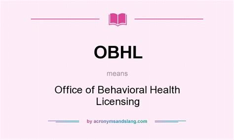 Office Of Behavioral Health by Obhl Office Of Behavioral Health Licensing In Undefined