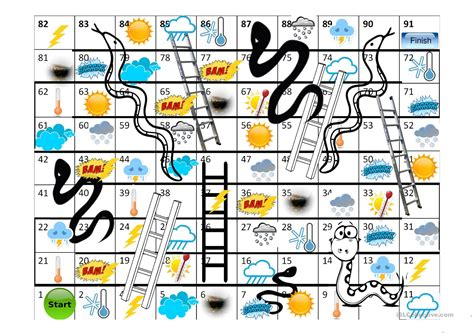 printable board game weather game quot snakes and ladders quot weather worksheet free esl