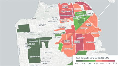 san francisco rental map map san francisco rent prices most expensive in the