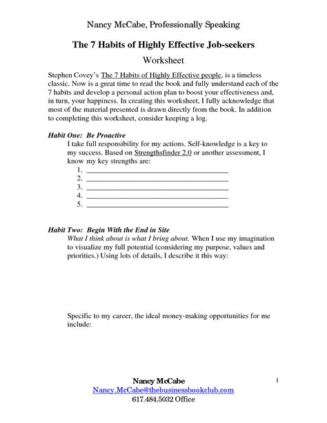 7 Habits Of Highly Effective Worksheets by 13 Best Images Of 7 Habits Worksheets 7 Habits