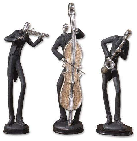 musicians decorative figurines set of 3 contemporary